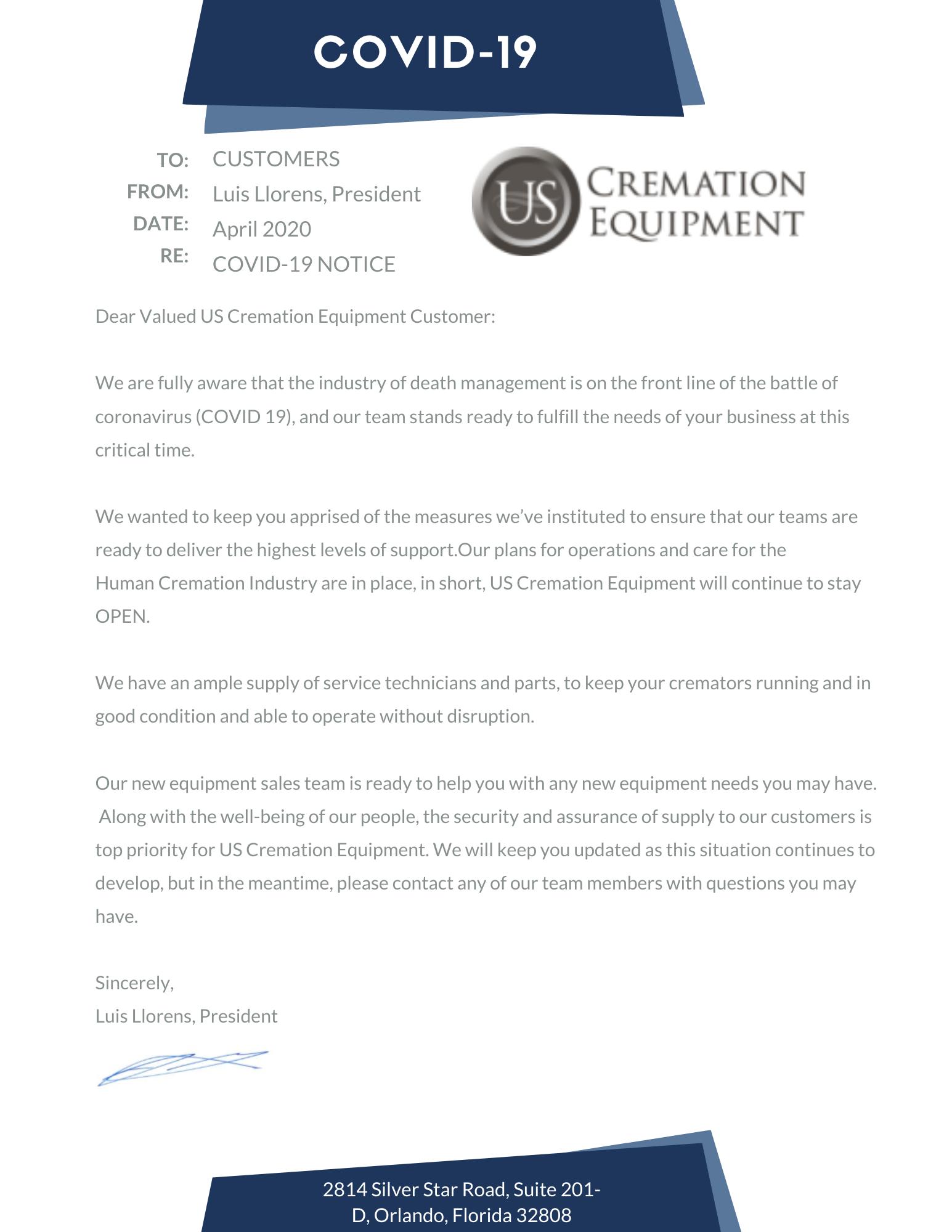 US cremation memo